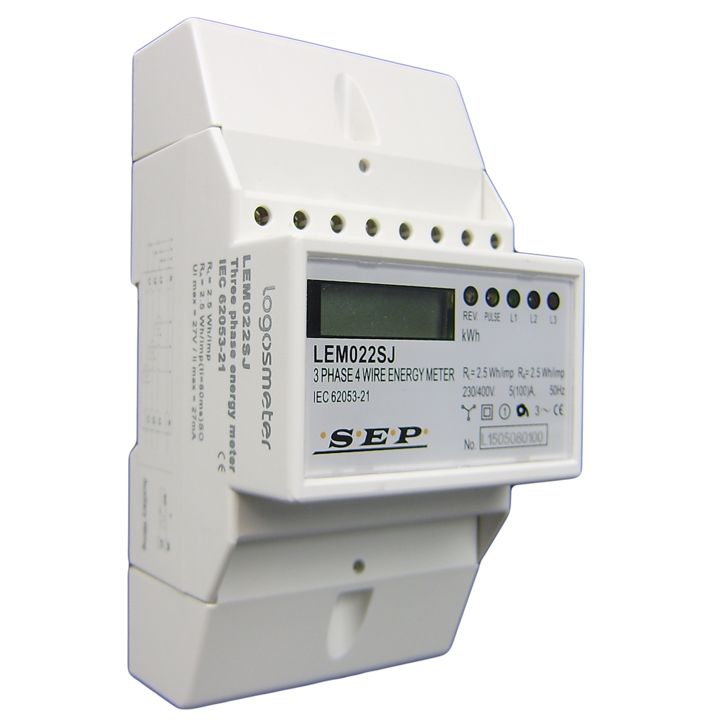 3 fase kWh meter direct 80A + puls ( 4 module)