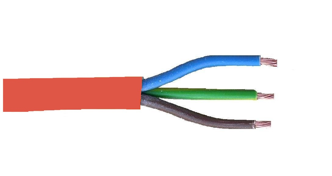 Siliconenkabel 3x1,0mm² 180° rood rol 100m